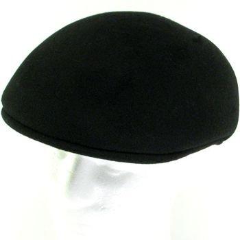 100% WOOL FELT ASCOT IVY DRIVER CABBIE HAT CAP BLACK L