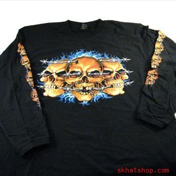 XX LARGE, BARBED WIRED SKULLS BLACK T-SHIRT LONG SLEEVE