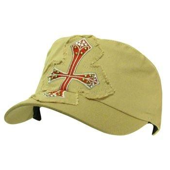 Cotton Frayed Cross Patch Military Cadet Hat Cap Khaki
