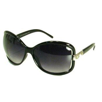 Oversized Rectangle Sunglasses Shades Rhinestones Black