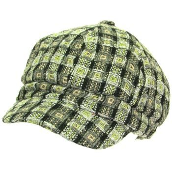 Wool Woven Square Knit Full Newsboy Cabby Cap Hat Gray