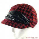 HOUNDSTOOTH CRINKLE NEWSBOY DRIVER CABBY CAP HAT RED
