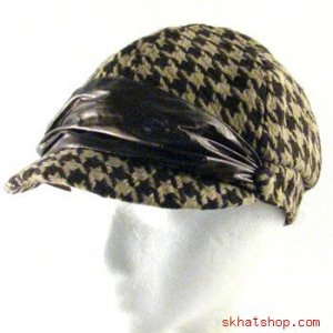 HOUNDSTOOTH CRINKLE NEWSBOY DRIVER CABBY CAP HAT BROWN