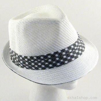 STINGY BRIM FEDORA TRILBY GANGSTER HAT TONE WHITE S/M