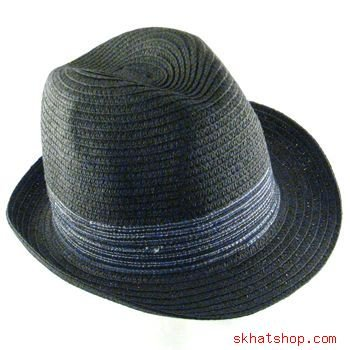 FEDORA TRILBY HAT GANGSTER WIDE BAND CRUSHABLE BLACK