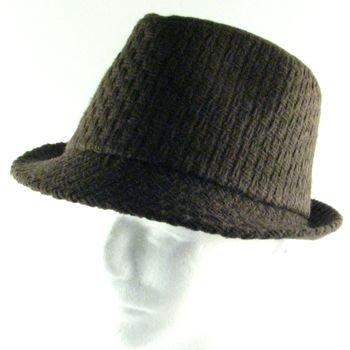 NEW WOVEN WOOL STINGY FEDORA TRILBY HAT CAP BROWN L/XL