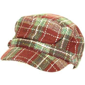 Light Wool Plaid Cadet Military GI Cap Hat Multi- Wine