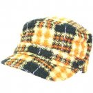 Wool Woven Plaid Cadet Military GI Cap Hat Multi Orange