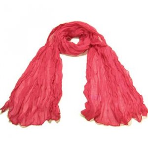 NEW LIGHT SHEER THIN CRINKLE LONG SCARF 68x23 HOT PINK