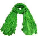 NEW LIGHT SHEER THIN CRINKLE LONG SCARF 68x23 GREEN
