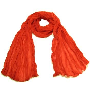 NEW LIGHT SHEER THIN CRINKLE LONG SCARF 68x23 RED