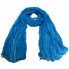 NEW LIGHT SHEER THIN CRINKLE LONG SCARF 68x23 BLUE