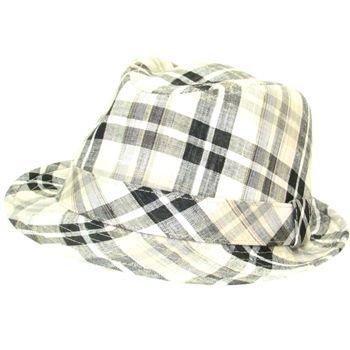 Multi Plaid Linen Gangster Fedora Trilby Hat Black L/XL
