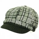 Wool Square Plaid  Ribbed Knit Newsboy Cap Hat Black