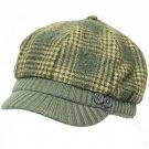 Wool Plaid  Ribbed Knit Newsboy Cabbie Cap Hat Charcoal