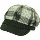 Wool Plaid  Ribbed Knit Newsboy Cabbie Cap Hat Black