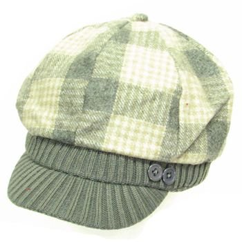 New Wool Plaid  Ribbed Knit Newsboy Cabbie Cap Hat Gray