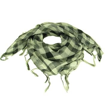 Square Plaid Fringe Check Light Scarf  Gray Silver
