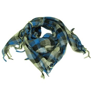 Square Plaid Fringe Check Light Scarf  Blue Silver