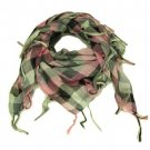 Square Plaid Fringe Checkered Light Scarf  Pink Silver