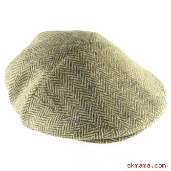100% WOOL HERRINGBONE IVY DRIVER GOLF CAP HAT BROWN S/M