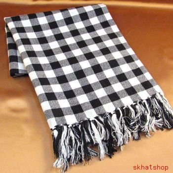 BUFFALO PLAID FRINGE HEAD SCARF WRAP SHAWL 32x38 BLACK