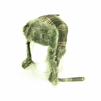 Faux Fur Wool Plaid Thick Trooper Ski Hat Black L/XL