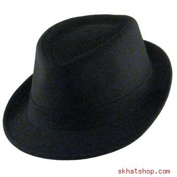 COTTON PIQUE FEDORA TRILBY HAT STINGY BRIM BLACK M/L