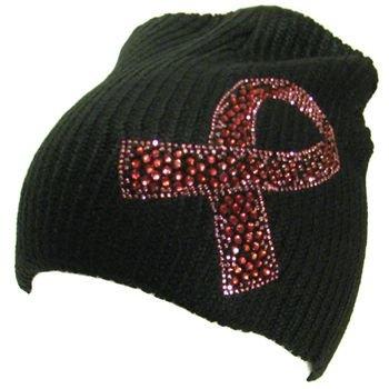 Cancer Ribbon Crystal Ribbed Beanie Ski Knit Hat  Black