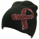 Cancer Ribbon Crystal Ribbed Beanie Ski Knit Hat  Black