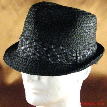 100%  RAFFIA STINGY BRIM FEDORA TRILBY  HAT BLACK M/L