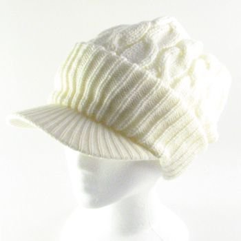 NEW CHUNKY CABLE KNIT SKULL NEWSBOY CABBY HAT CAP IVORY