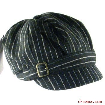 PINSTRIPE NEWSBOY OVERSIZE DRIVER CAP HAT BLACK