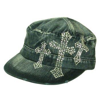 Triple Crystal Cross Frayed Cadet  Hat Cap Denim Blue