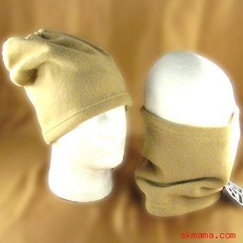 2 IN 1 SKI SKATE POLAR  FLEECE NECK HEAD WRAP HAT * TAN