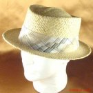 NWT 100% RAFFIA STRAW PORKPIE WIDE BAND HAT NATURAL M/L