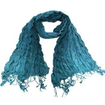 LIGHT CRINKLE BRAID LONG SCARF WRAP SHAWL 70x25 BLUE