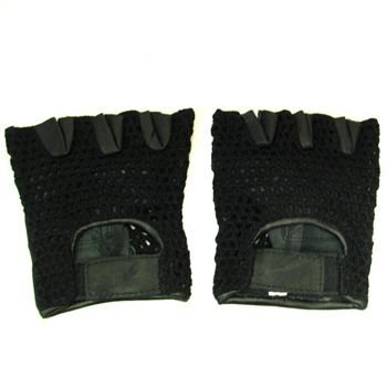 Men's Leather Mesh Velcro Fingerless Padded Gloves M