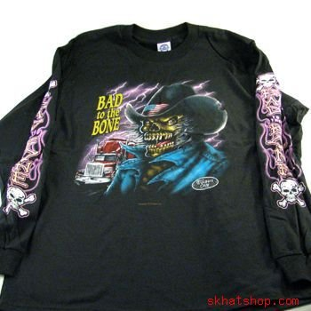 Bad to the Bone TRUCKER X LARGE T-SHIRT BLK LONG Sleeve