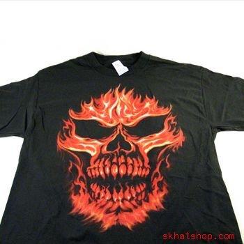 BLACK FLAME SKULL SHORT SLEEVE COTTON SHIRT T-SHIRT XL