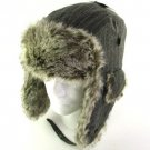 WOOL PINSTRIPE FAUX FUR PILOT TROOPER SKI HAT GRAY L/XL