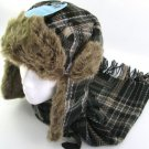 FAUX FUR PLAID TROOPER PILOT SKI HAT SCARF SET BLACK ML