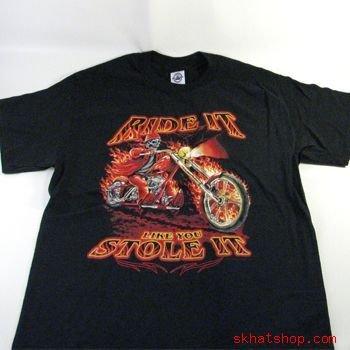 Ride It - FLAMING SKELETON CYCLE BLK LARGE SHORT SLEEVE