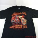 Ride It - FLAMING SKELETON CYCLE BLK LARGE SHORT SLEEVE