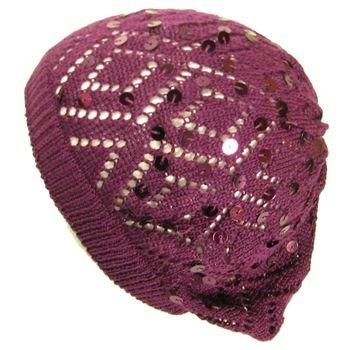 Knit Sequins Light Beret Tam Slouch Hat Dance Purple