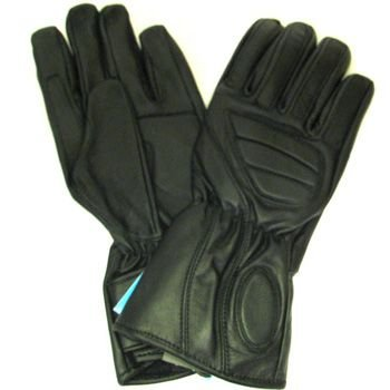 Men's Racing Double Leather Padded Biker Long Gloves XL