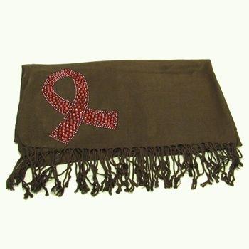100% Pashmina Cancer Ribbon Crystal Wrap Shawl Brown