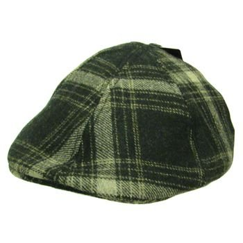 NWT Wool Plaid panel  Duck Bill Ivy Cabby Hat Charcoal