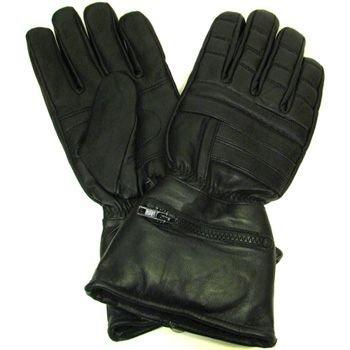 Men's Gauntlet Lamb Leather Biker Gloves w Rain cover M
