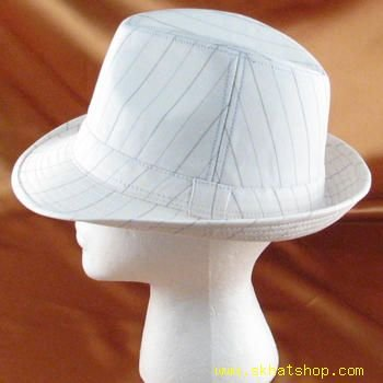 LINEN COTTON FEDORA TRILBY GANGSTER LINED WHITE L/XL